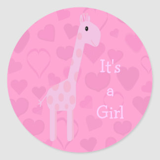 Cute Pink Giraffe & Hearts Its A Girl New Baby Classic Round Sticker