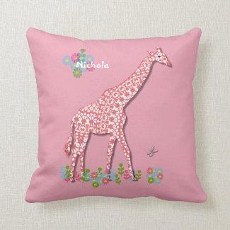 Cute Pink Giraffe Nursery Kids Personalized Design Throw Pillow