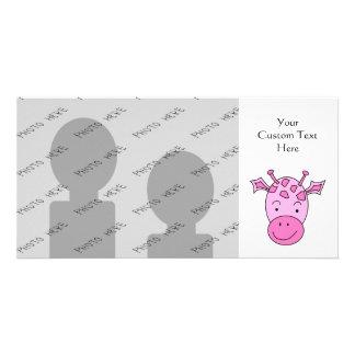 Cute Pink Giraffe. Photo Card Template