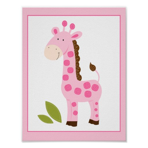 CUTE PINK GIRAFFE WALL ART PRINT