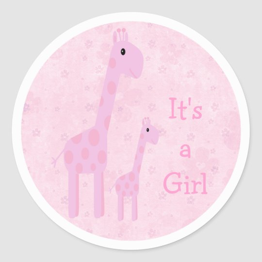 Cute Pink Giraffes & Flowers Its A Girl New Baby Classic Round Sticker