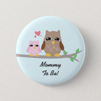 Cute Pink Girl Baby Shower Owl Button