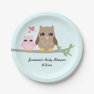 Cute Pink Girl Baby Shower Owl 7 Inch Paper Plate