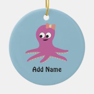 Cute pink girl Octopus Ceramic Ornament