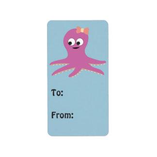 Cute pink girl Octopus Label