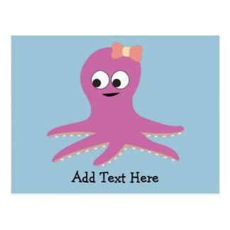 Cute pink girl Octopus Postcard