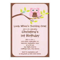 Cute Pink Girl Owl Birthday Party Invitations