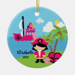 Cute Pink Girl Pirate Christmas Ornament