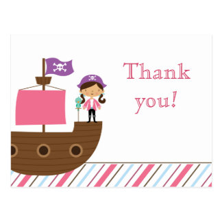 Cute pink girl s pirate birthday party thank you postcards