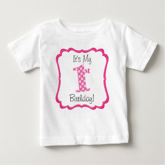 Cute Pink Girl's First Birthday Baby T-Shirt