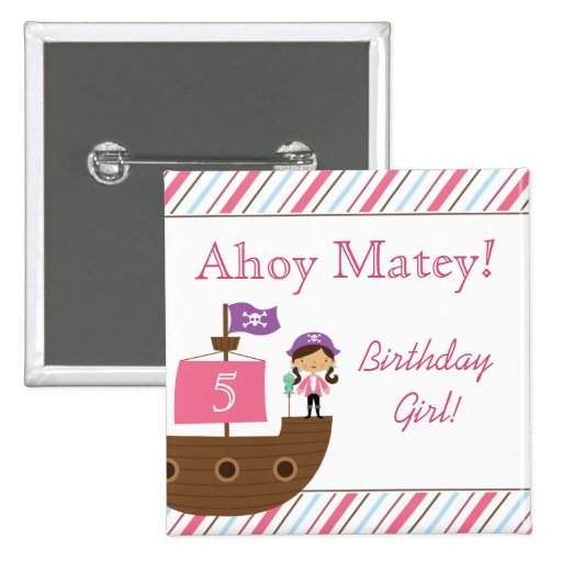 Cute pink girl's pirate birthday party buttons