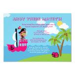 "Cute pink girl's pirate birthday party invitation 5"" x 7"" invitation card"