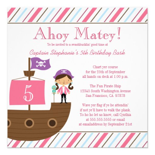 Personalized Girls purple birthday party Invitations