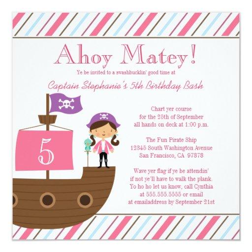 "Cute pink girl's pirate birthday party invitation 5.25"" square invitation card"