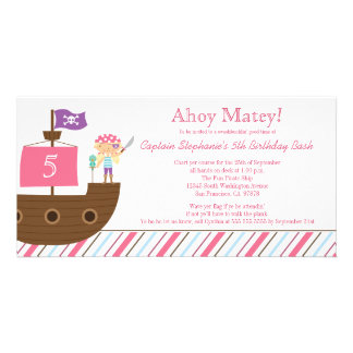 Cute pink girl's pirate birthday party invitation