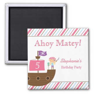 Cute pink girl's pirate birthday party magnets