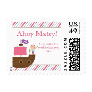 Cute pink girl's pirate birthday party stamps