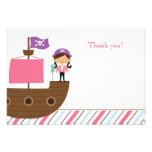 Cute pink girl's pirate birthday party thank you announcements