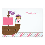 """Cute pink girl's pirate birthday party thank you 3.5"""" x 5"""" invitation card"""