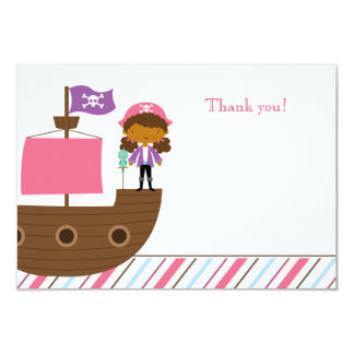 "Cute pink girl's pirate birthday party thank you 3.5"" x 5"" invitation card"