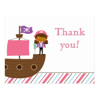 Cute pink girl's pirate birthday party thank you postcard
