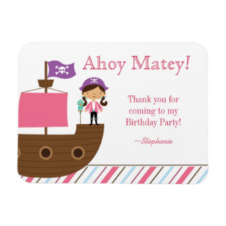 Cute pink girl's pirate birthday party thank you magnet