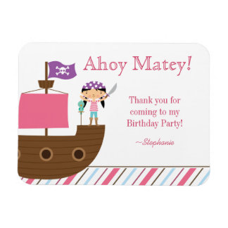 Cute pink girl's pirate birthday party thank you rectangular photo magnet