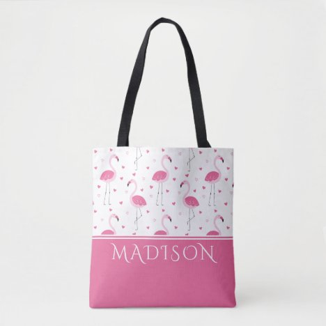 Cute Pink Girly Flamingo Love Heart Personalized Tote Bag