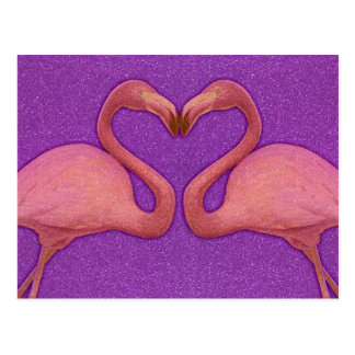 Cute Pink Girly Glitter Flamingo Heart Postcard
