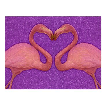 Valentines Themed Cute Pink Girly Glitter Flamingo Heart Postcard