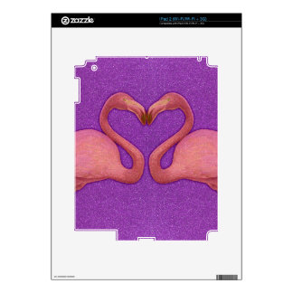 Cute Pink Girly Glitter Flamingo Heart Decal For iPad 2