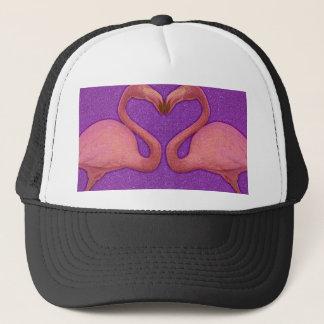 Cute Pink Girly Glitter Flamingo Heart Trucker Hat