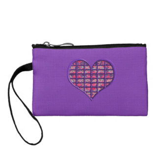 Cute Pink Girly Heart Material Floral Design Coin Purse