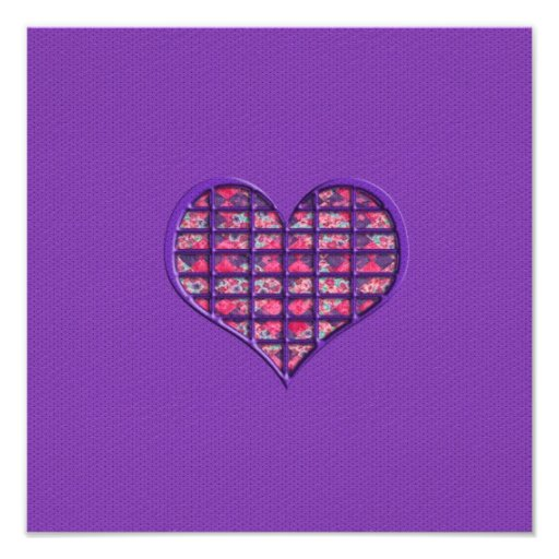 Cute Pink Girly Heart Material Floral Design Photographic Print