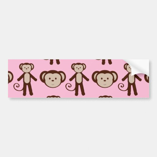 Cute Pink Girly Monkey Collage Pattern Bumper Sticker