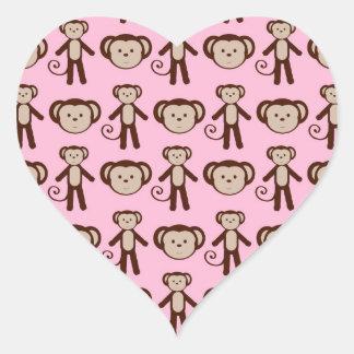 Cute Pink Girly Monkey Collage Pattern Heart Sticker