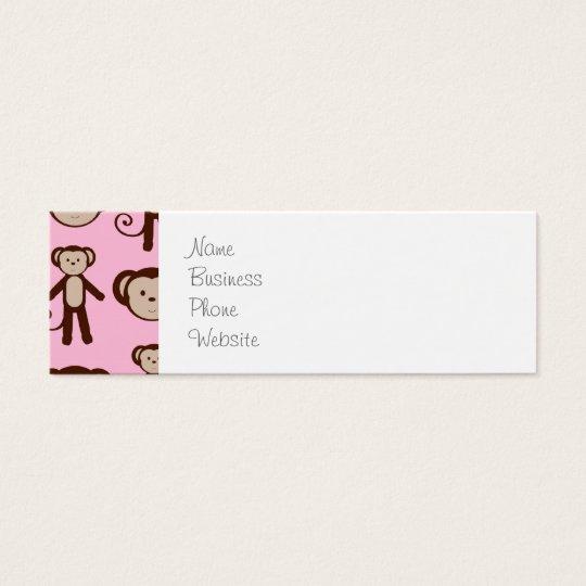 Cute Pink Girly Monkey Collage Pattern Mini Business Card