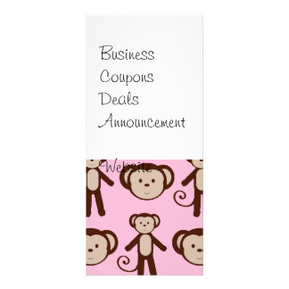 Cute Pink Girly Monkey Collage Pattern Rack Card