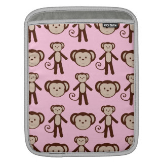 Cute Pink Girly Monkey Collage Pattern Sleeve For iPads