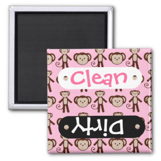 Cute Pink Girly Monkey Girl Collage Pattern 2 Inch Square Magnet