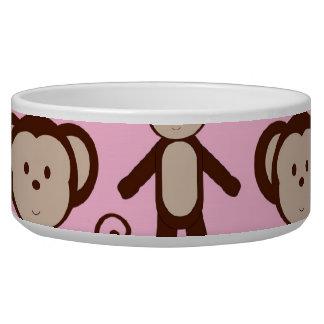 Cute Pink Girly Monkey Girl Collage Pattern Bowl