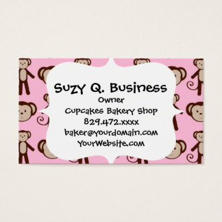 Cute Pink Girly Monkey Girl Collage Pattern Business Card