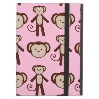 Cute Pink Girly Monkey Girl Collage Pattern Cover For iPad Air