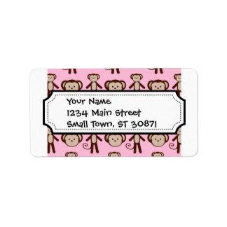 Cute Pink Girly Monkey Girl Collage Pattern Address Label