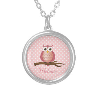 Cute Pink Girly Owl Polka Dots Round Pendant Necklace