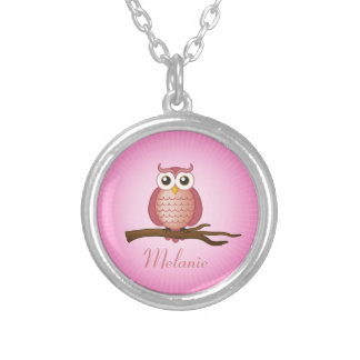 Cute Pink Girly Owl Round Pendant Necklace