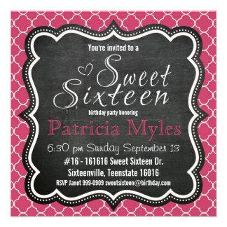 Cute Pink Glitter Chalkboard and Zebra Sweet 16 Invitations