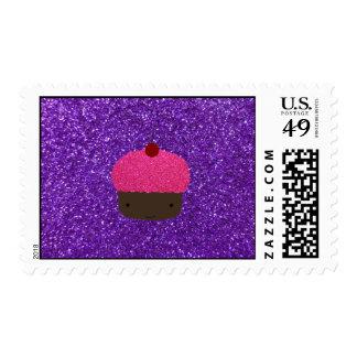 Cute pink glitter cupcake purple glitter postage