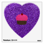 Cute pink glitter cupcake purple glitter wall sticker