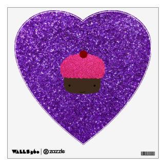 Cute pink glitter cupcake purple glitter room decal